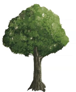 ブラシを用いた木のイラスト
