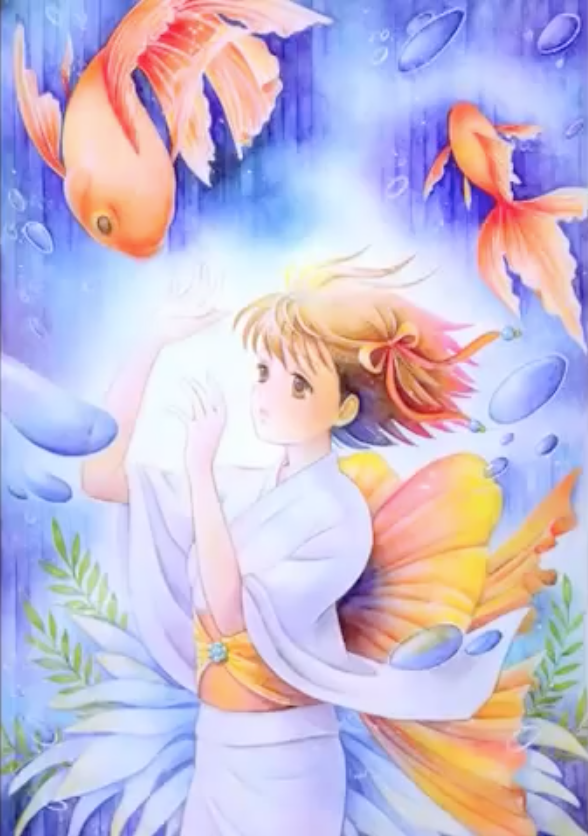 金魚と少女をモチーフにしたイラスト