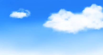 ブラシで雲を描く