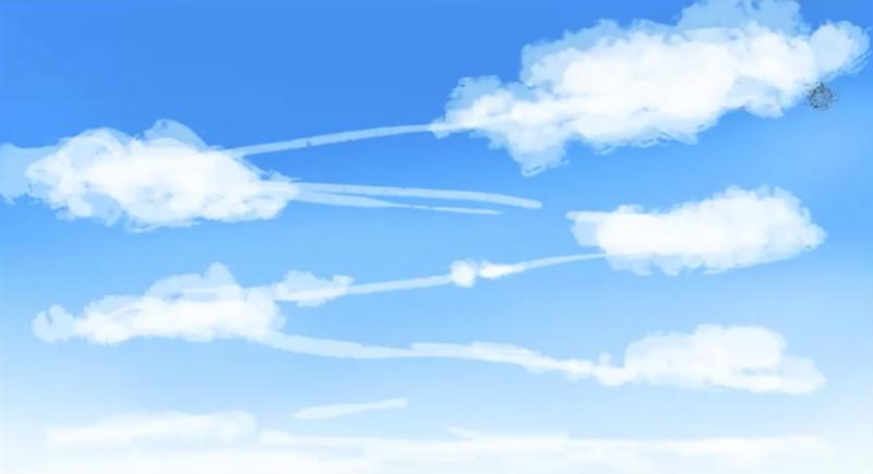 ジグザグに雲を配置