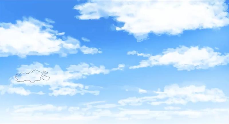 手前の雲と奥の雲海を描く