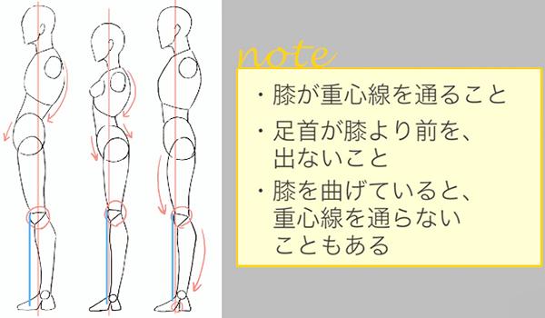 重心線と膝の位置関係