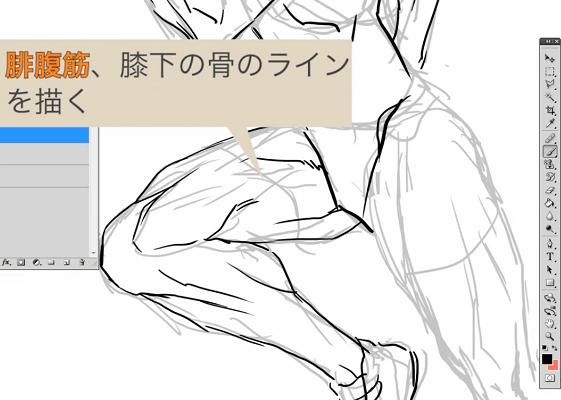 腓腹筋とひざ下のラインを描く