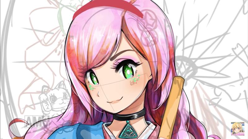 和傘のラフと塗りイラスト