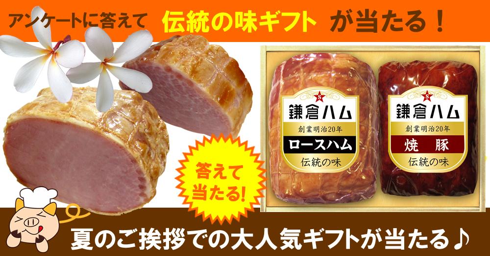 お中元の季節です。アンケートに答えて鎌倉ハム伝統の味ギフトKD-113を5名様にプレゼント♪♪