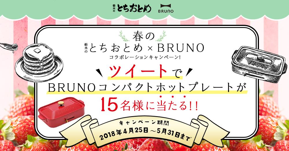 """""""春の栃木のとちおとめ × BRUNO"""" コラボレーションキャンペーン ツイートでBRUNO商品が当たる!!"""