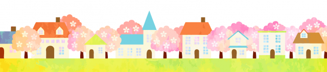 フリー素材_桜と家