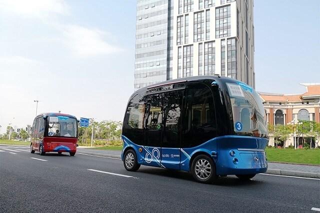 百度が提供する自動運転システムのプラットフォーム「Apollo(アポロ)」を搭載した自動運転バス「Apolong(アポロン)」