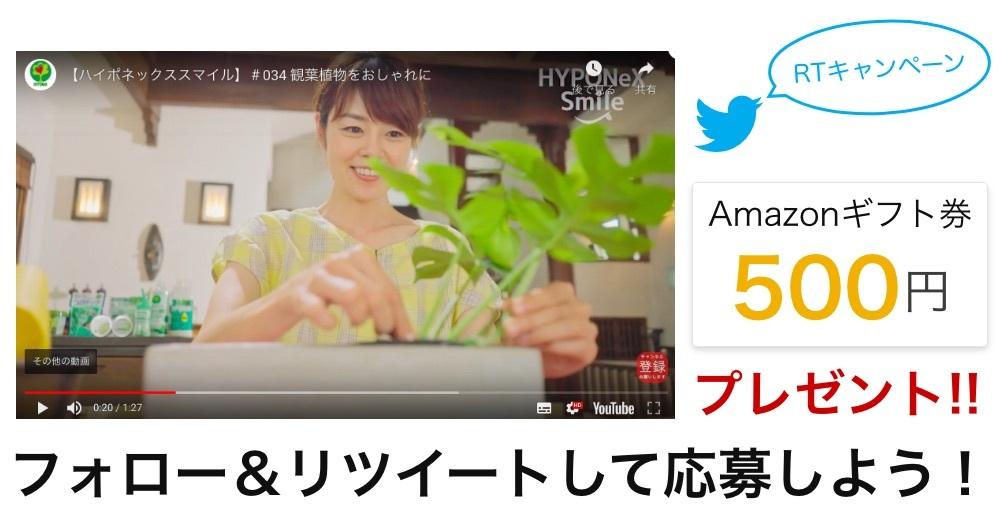 「HYPONeX Smile」リツイートキャンペーン! 最新動画、続々配信中♪抽選で5名様にAmazon券プレゼント!!