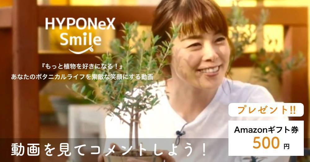 「HYPONeX Smile」第二弾キャンペーン!旬の動画、続々配信中♪抽選で10名様にAmazon券プレゼント!!