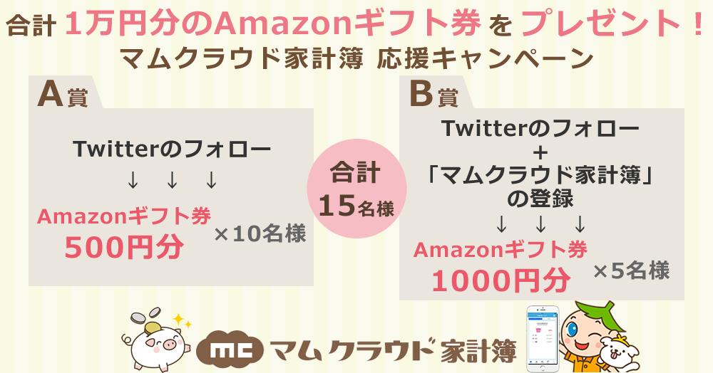 合計1万円分のAmazonギフト券をプレゼント!マムクラウド家計簿 応援キャンペーン