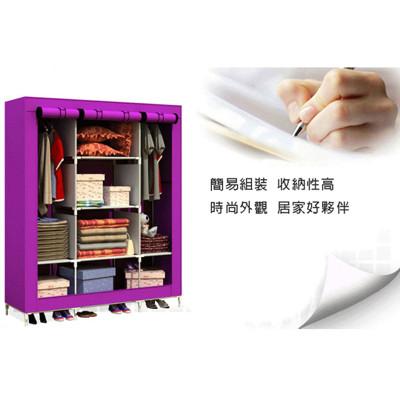 超大三排加寬加高8格簡易防塵衣櫃 (5.1折)