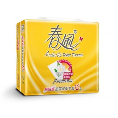 春風 絲絨感山茶花抽取式衛生紙(100抽x12包x6串)/箱 (8.8折)
