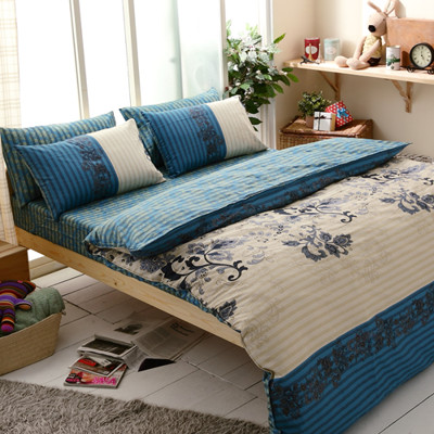【FOCA-多款任選】雙人-100%精梳純棉兩用被床包組 (3.7折)