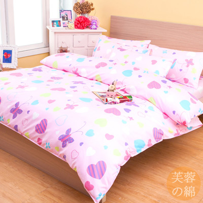 【FOCA-幸福之心】芙蓉棉三件式被套床包組-單人 (3.2折)