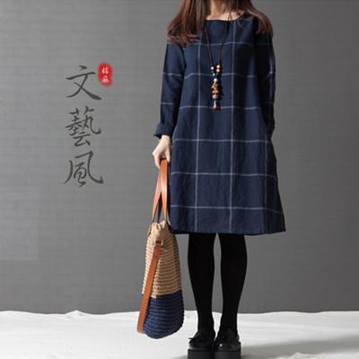 棉麻長袖顯瘦格子連身裙 (3.5折)