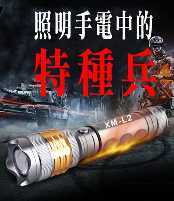L2金環強光防身手電筒組 (4.4折)