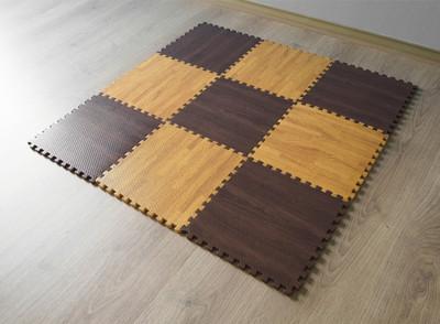 EVA巧拼木紋地墊 嬰兒爬行止滑墊  8枚入 (3.3折)