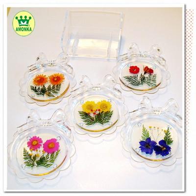 【AMONKA】手工乾燥花壓花領結杯墊組 (4折)