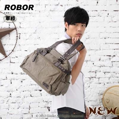韓系型男 ROBOR爵仕時尚大口袋帆布包側背/手提/斜背三用包(軍綠) (3.7折)