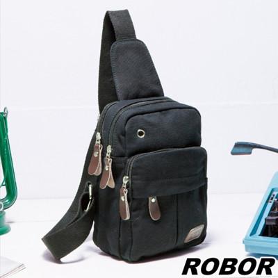 韓系型男 ROBOR搖滾風帆布包單肩包單車包(黑色) (3.7折)