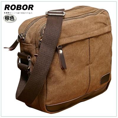 韓系型男 ROBOR東京時尚簡約風休閒包/側背/斜背包(棕色) (3.8折)