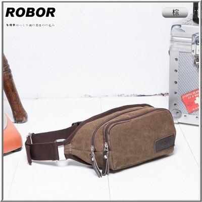 韓系型男 ROBOR韓風潮流雙拉鍊帆布包腰包(棕色) (3.2折)