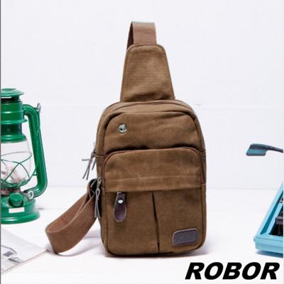 韓系型男 ROBOR搖滾風帆布包單肩包單車包(棕色) (3.7折)