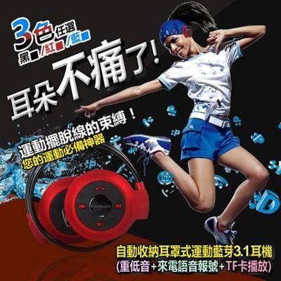 後掛式自動收納藍牙運動耳機 (4折)