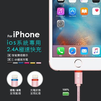 鋁合金 2.4A 智能斷電變燈快充傳輸線 充電線 傳輸線 蘋果專用 (2折)