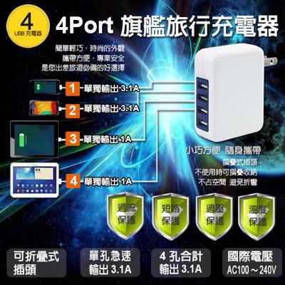 3.1A USB 4Port 旗艦旅充供電器 (6.2折)
