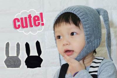 可愛兔耳造型兒童保暖套頭針織帽 (3.2折)