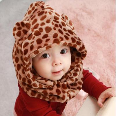兒童專用豹紋造型保暖套頭帽圍 (4.6折)