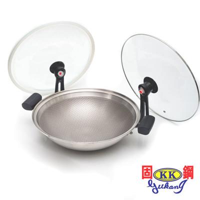 固鋼 304不鏽鋼節能炒菜鍋 氣密不沾鍋36cm 適用電磁爐 (4.4折)