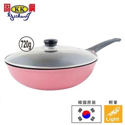 Chef Run韓國原裝超輕量鈦金鍋-馬卡龍粉色炒鍋(28cm炒鍋+玻璃鍋蓋) (3折)