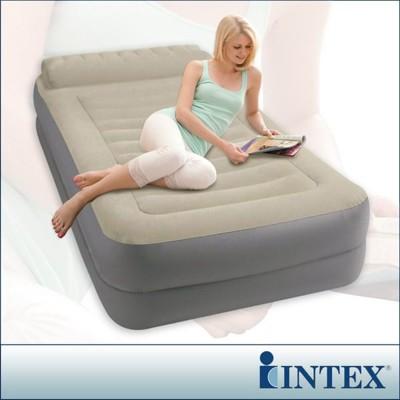 【INTEX】豪華雙層有頭枕單人加大充氣床-寬99cm (附電動幫浦) LC271(67775) (6.9折)