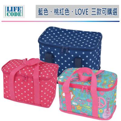 LIFECODE《小丸子》保冰袋/便當袋(6L)深藍 /桃紅 /LOVE花布 3色可選 LC616 (6.9折)