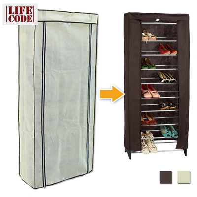 【LIFECODE】防塵套-米白/咖啡2色可選(可調式十層鞋架專用) LC370 (3.3折)