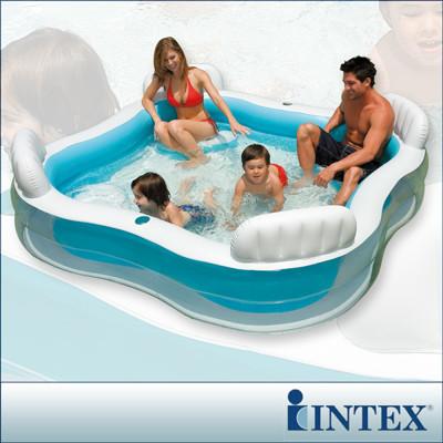 【INTEX】方型有靠墊透明戲水游泳池(229*229cm)(882L) LC281(56475) (6.3折)