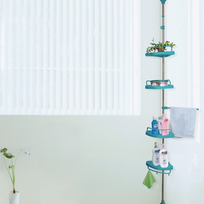 【LIFECODE】頂天立地浴室架(不鏽鋼複合管)-蒂芬妮藍 LC389B【贈送-廚房防污貼紙】 (6.6折)