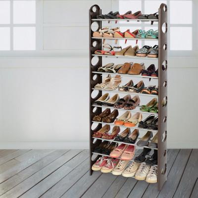 【LIFECODE】可調式十層鞋架/可放30雙鞋 (咖啡色) LC364C (7.1折)