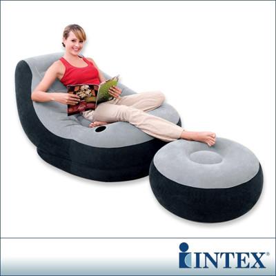 INTEX《懶骨頭》單人充氣沙發椅附腳椅-灰色 LC246(68564) (6.8折)