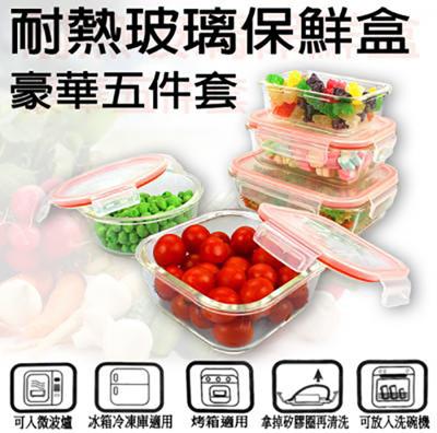 TSL-120耐熱玻璃保鮮盒(豪華5件組) (5.7折)