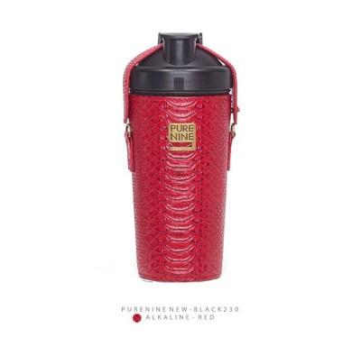 韓國PURENINE BOTTLE時尚鹼性水生成水壺(二代黑內瓶)-胭脂紅皮套 (4.4折)
