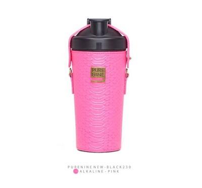 韓國PURENINE BOTTLE時尚鹼性水生成水壺(二代黑內瓶)-螢光桃紅皮套 (4.4折)