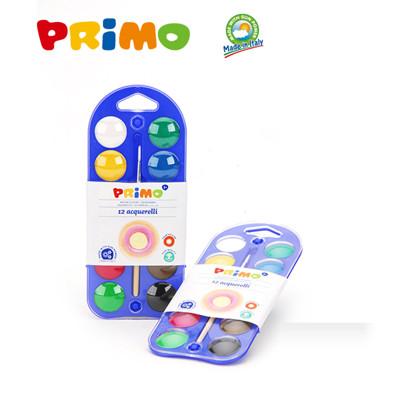 【義大利原裝進口製造 PRiMO】可水洗塗鴉水彩餅12色附畫筆 (4.2折)
