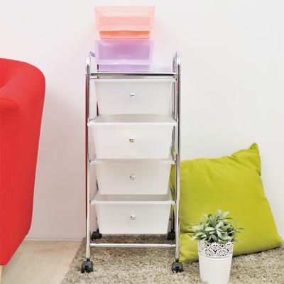 【ikloo】可移式四層抽屜收納箱/收納盒 (3.9折)