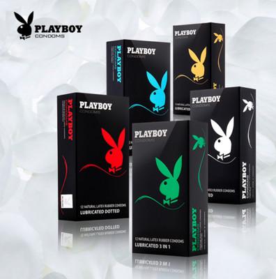 PLAYBOY-花花公子 保險套-超薄潤滑凸点(螺紋、顆粒、草莓、三合一)誘惑 \12入(盒) (0.5折)