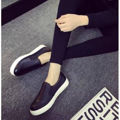 素面皮革平底懶人鞋(2色可選) (5.3折)