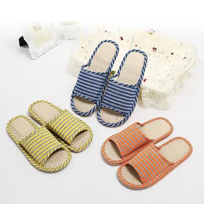 亞麻條紋室內拖鞋/情侶拖鞋 (5.5折)